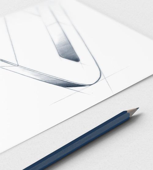 conception croquis crayon bleu