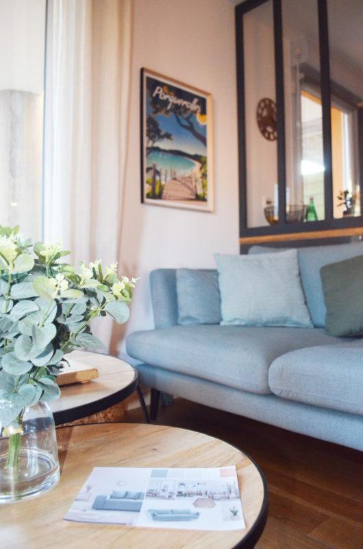 canapé vert céladon pour salon