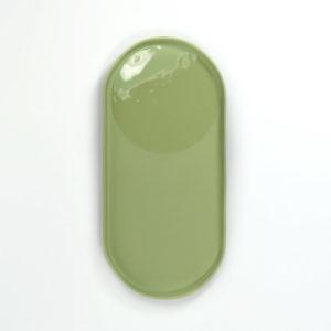 grand vide poche en porcelaine vert amande