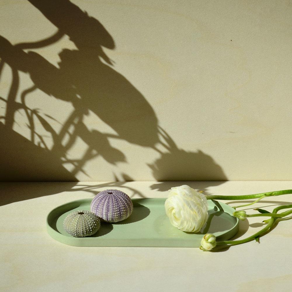 mise en situation fleur et coquillages grand vide poche vert amande