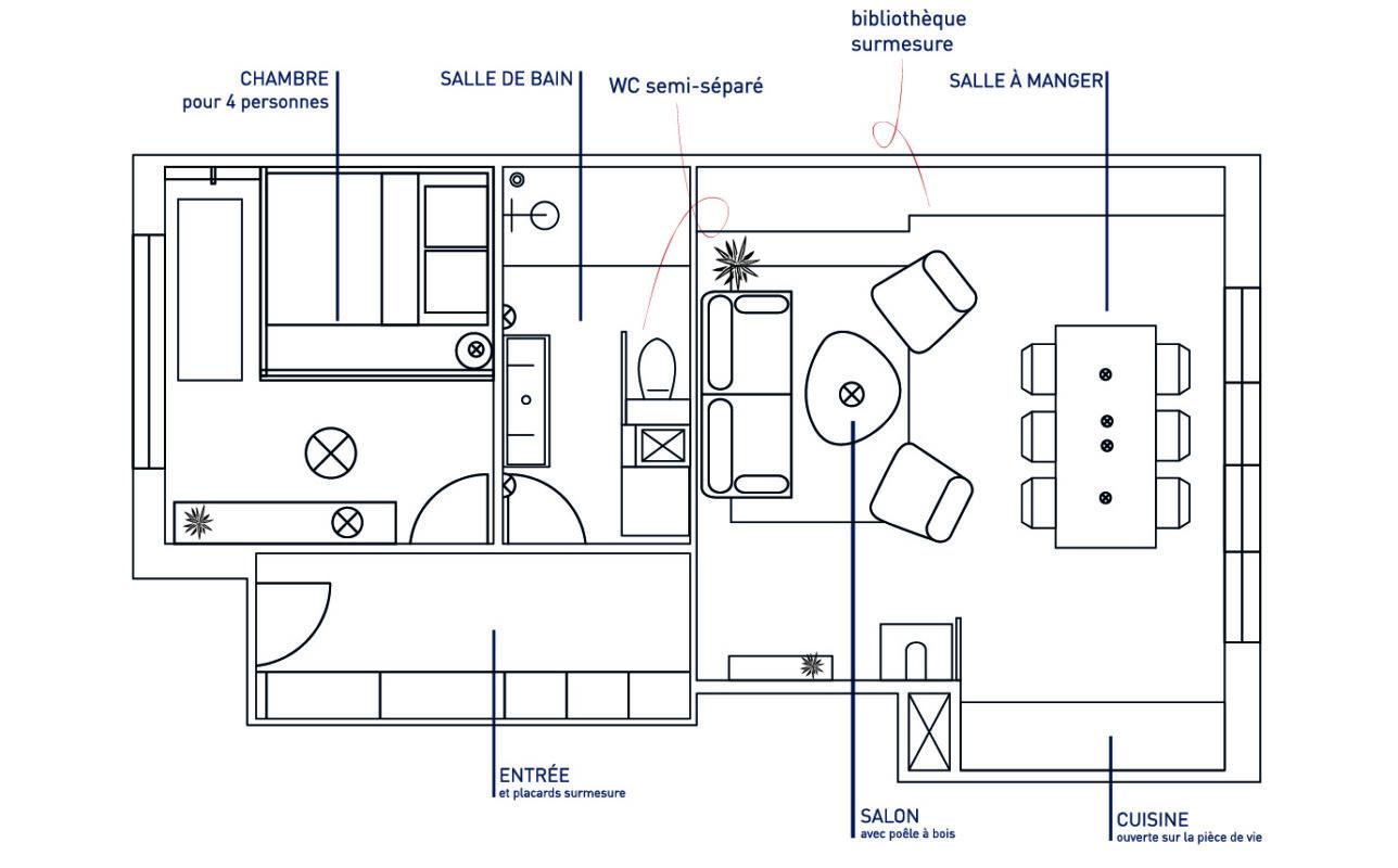 plan aménagement appartement porquerolles