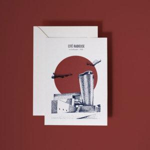 mock up carte postale cite radieuse