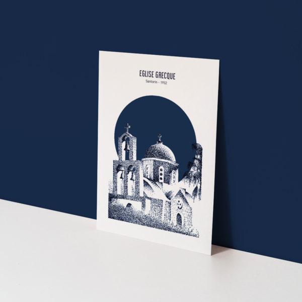 carte postale d'une église grecque sur fond bleu